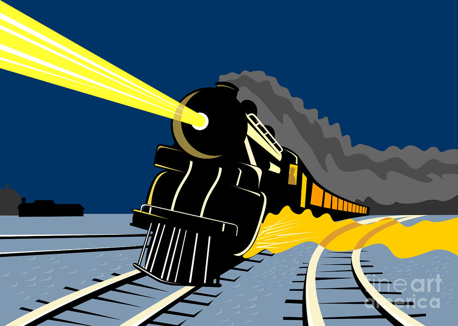 Steam Train Night Digital Art  - Steam Train Night Fine Art Print