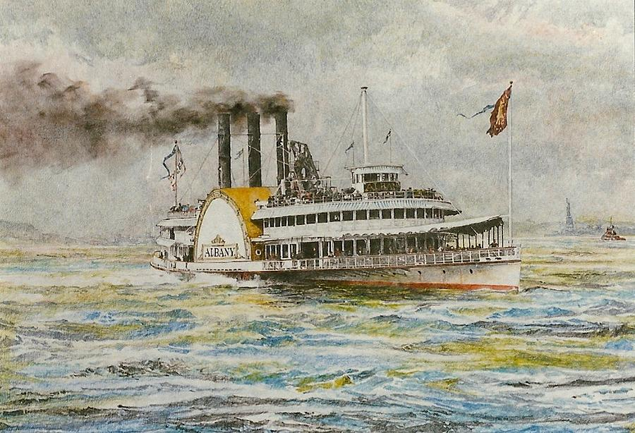 Steamboat Albany In New York Harbor C.1880 Drawing