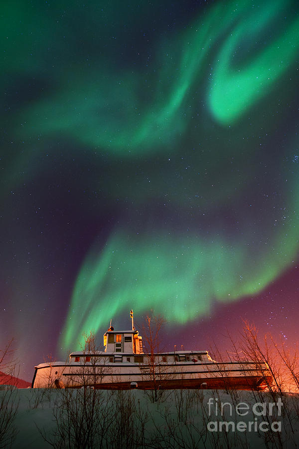 Aurora Borealis Photograph - Steamboat Under Northern Lights by Priska Wettstein