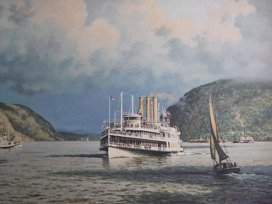 Steamboats On Newburgh Bay William G Muller Photograph  - Steamboats On Newburgh Bay William G Muller Fine Art Print