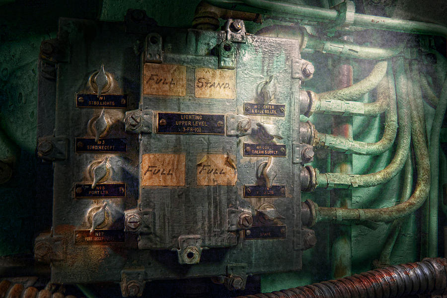 Steampunk Photograph - Steampunk - Naval - Electric - Lighting Control Panel by Mike Savad