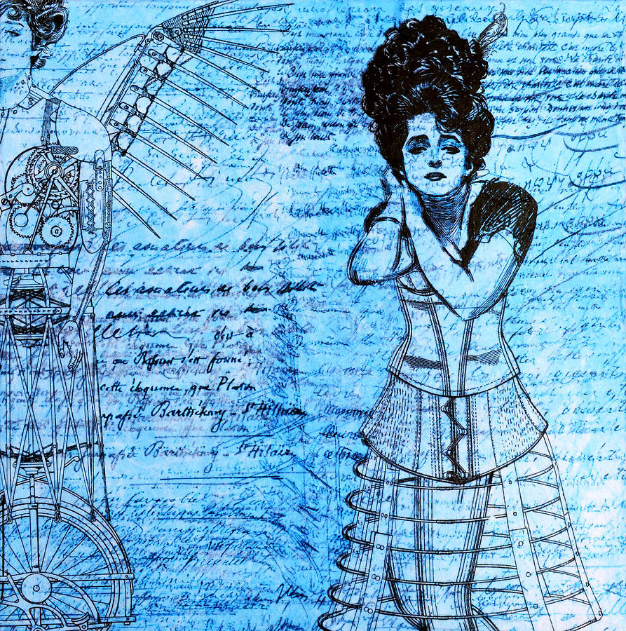 Steampunk Girls In Blues Mixed Media