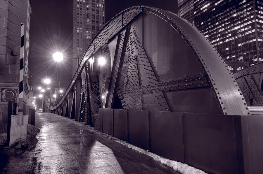 Steel Bridge Chicago Black And White Photograph  - Steel Bridge Chicago Black And White Fine Art Print