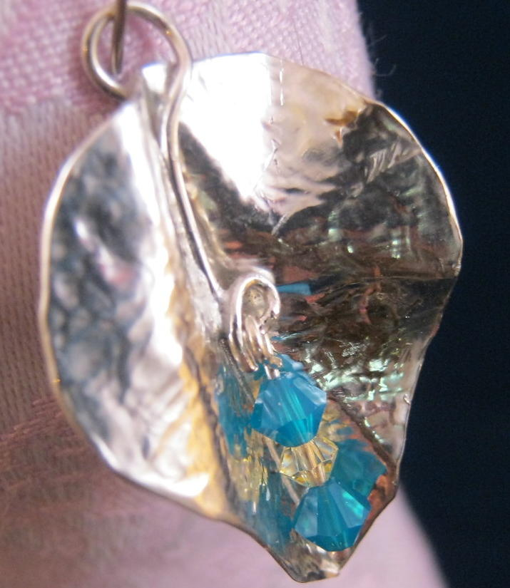 Sterling Silver Leaf With Crystal Beads Pendant Jewelry