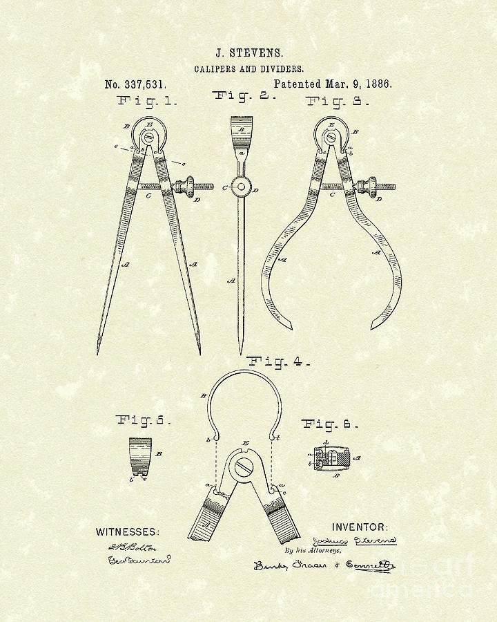 Stevens Calipers And Dividers 1886 Patent Art Drawing  - Stevens Calipers And Dividers 1886 Patent Art Fine Art Print