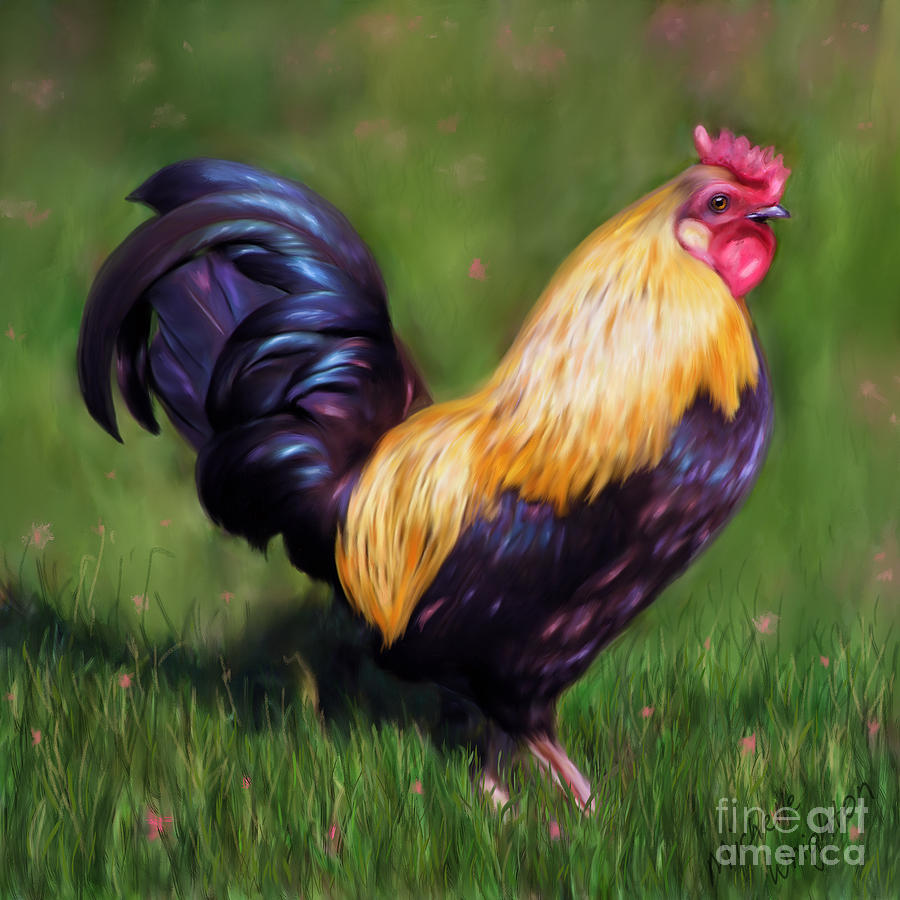 Chickens Painting - Stewart The Bantam Rooster by Michelle Wrighton