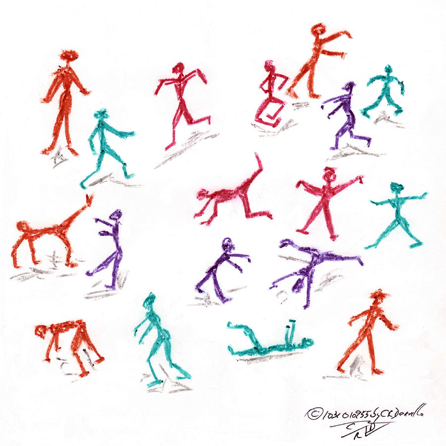Stickmen October Two Thousand One Drawing  - Stickmen October Two Thousand One Fine Art Print