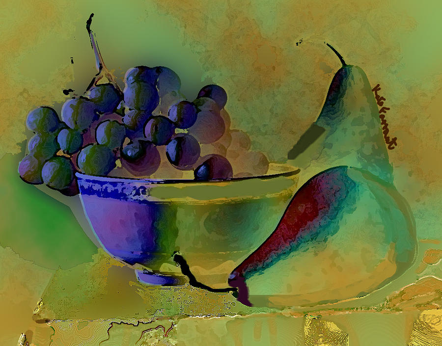 Still Life - Grapes N Pears Digital Art  - Still Life - Grapes N Pears Fine Art Print