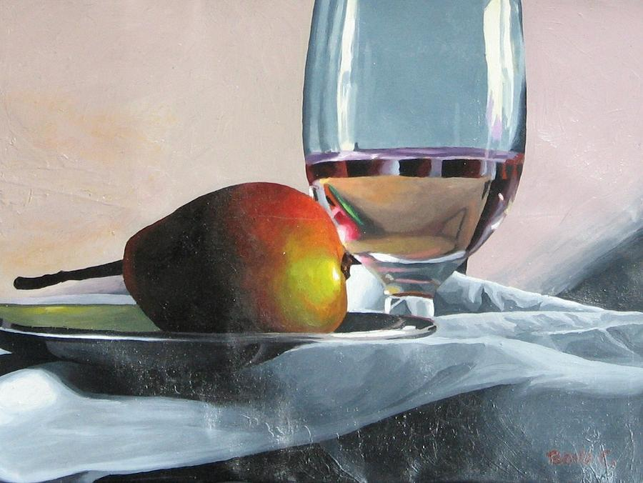 Still Life Of Pear And Water Glass by Covalli