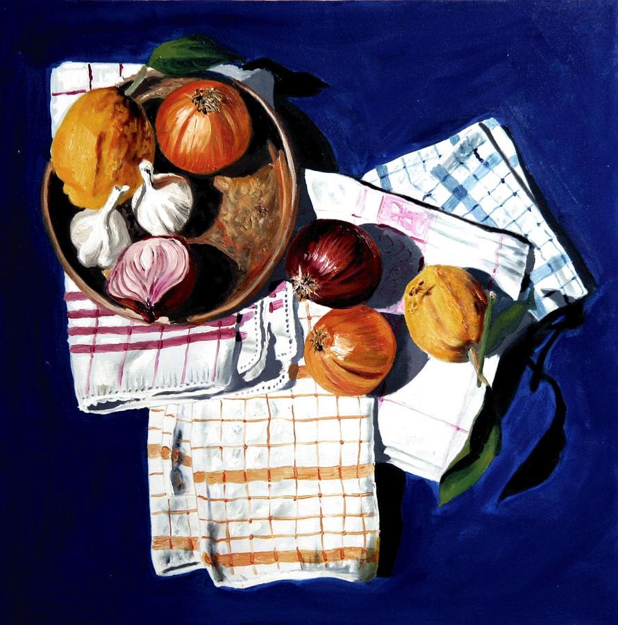 Still Life Painting - Still Life On Blue by Paul De Haan