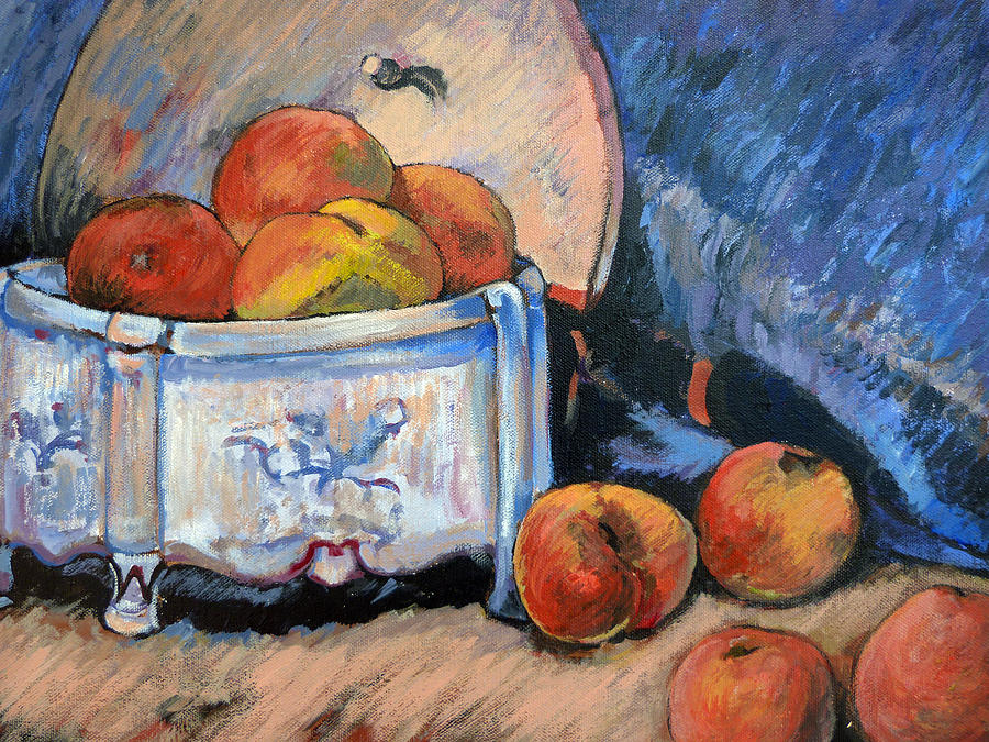 Peaches Painting - Still Life Peaches by Tom Roderick