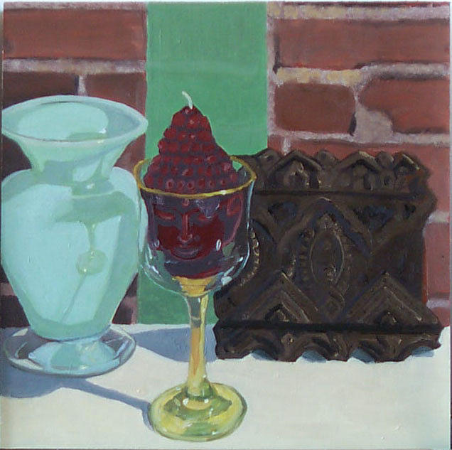 Still life with budha candle by phillip schwartz for Candle painting medium