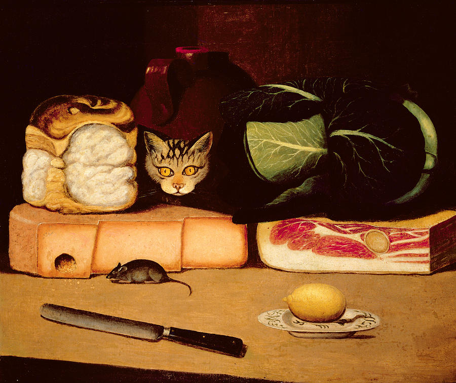 Still Life With Cat And Mouse Painting  - Still Life With Cat And Mouse Fine Art Print