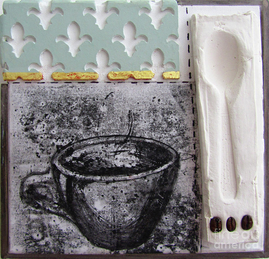 Still Life With Coffee Cup Beans And Spoon Mixed Media  - Still Life With Coffee Cup Beans And Spoon Fine Art Print