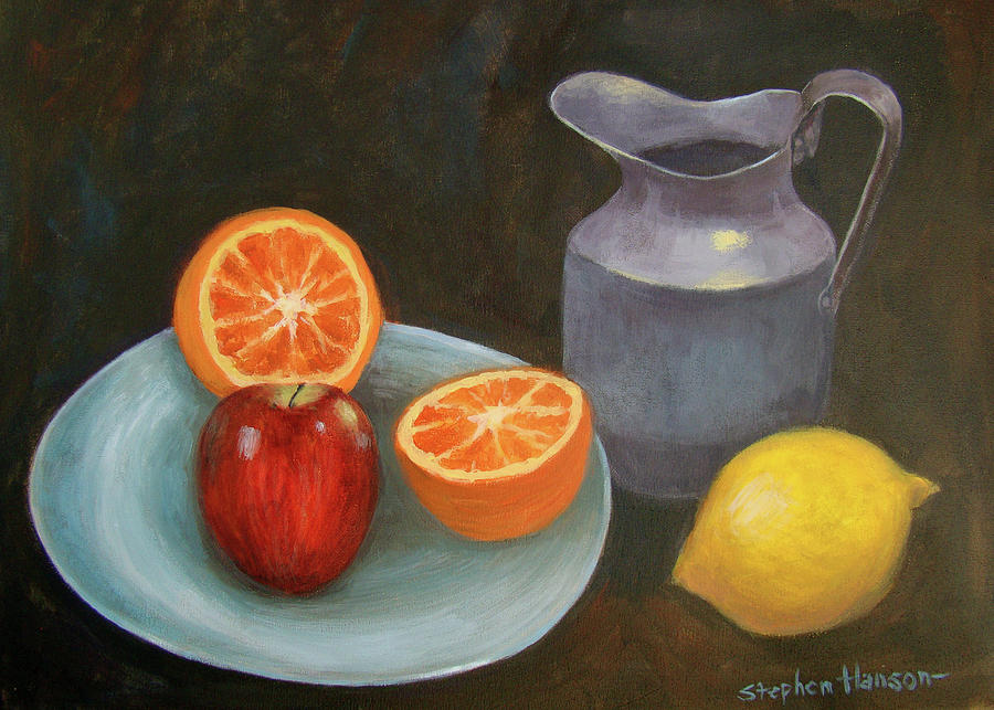 Still Life With Fruit And Pitcher Painting by Stephen Hanson