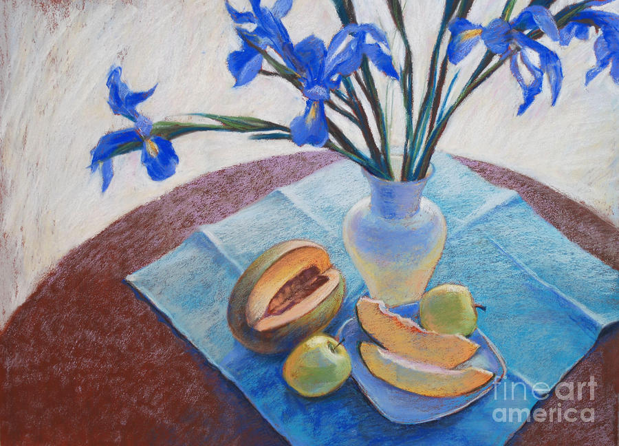 Still Life With Irises. Drawing  - Still Life With Irises. Fine Art Print