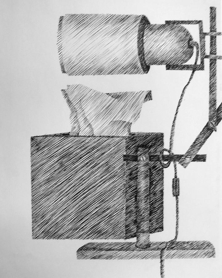 Still Life With Lamp And Tissues Drawing