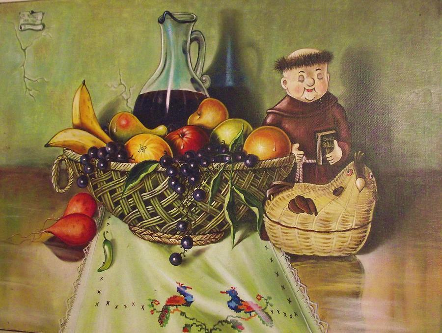 Santana Painting - Still Life With Moms Needle Work by Joe Santana