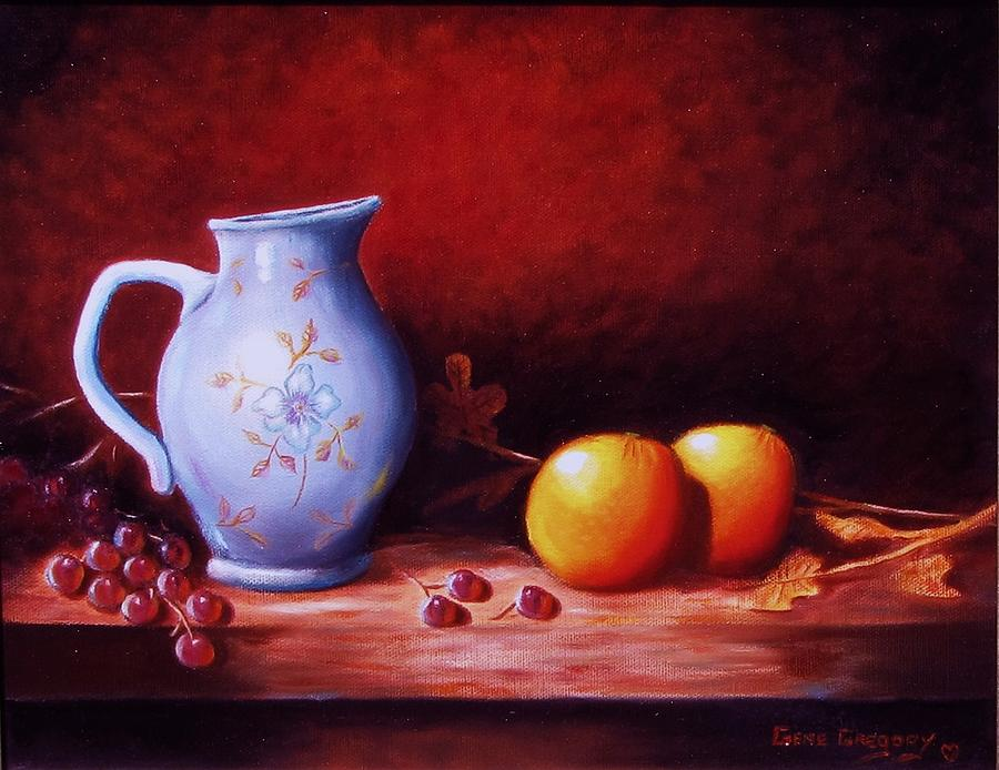 Pitcher Painting - Still Life With Oranges  by Gene Gregory