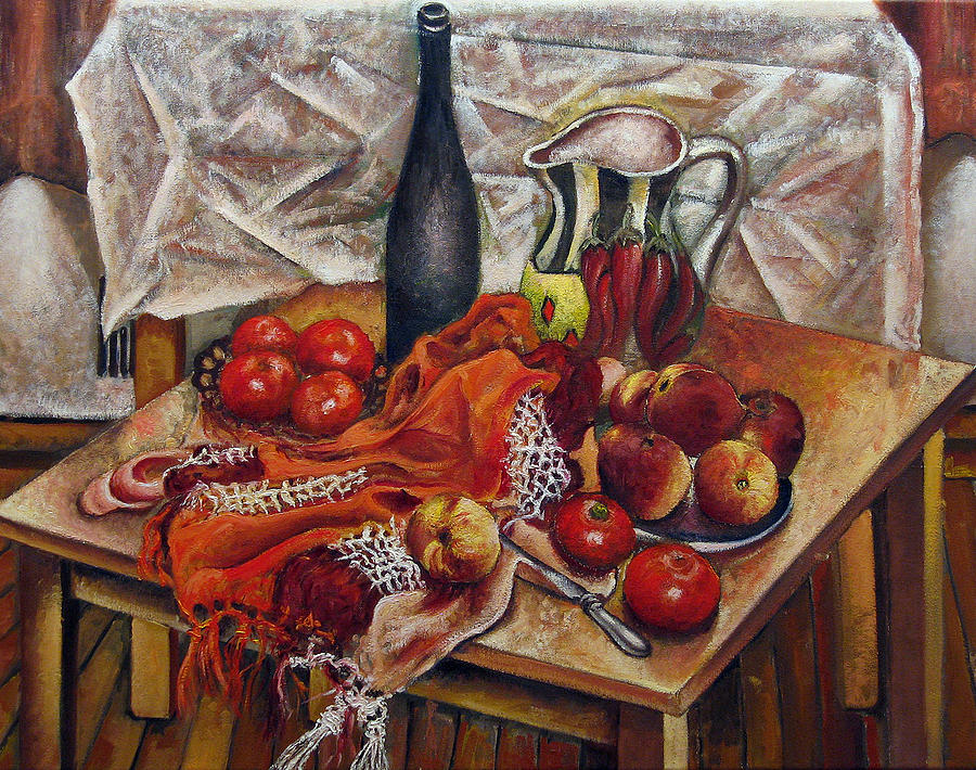 Still Life With Peaches And Tomatoes Painting  - Still Life With Peaches And Tomatoes Fine Art Print