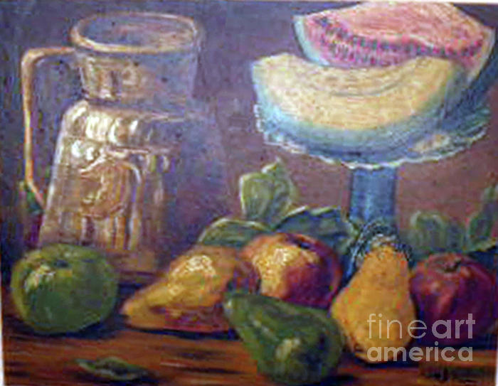 Still Life With Pears And Melons Painting  - Still Life With Pears And Melons Fine Art Print
