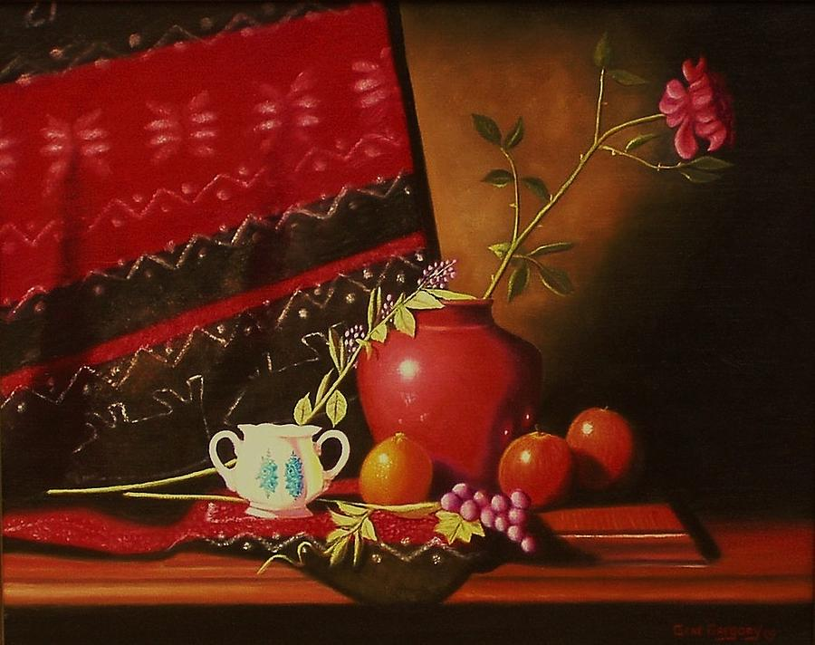 Still Life With Red Vase. Painting  - Still Life With Red Vase. Fine Art Print