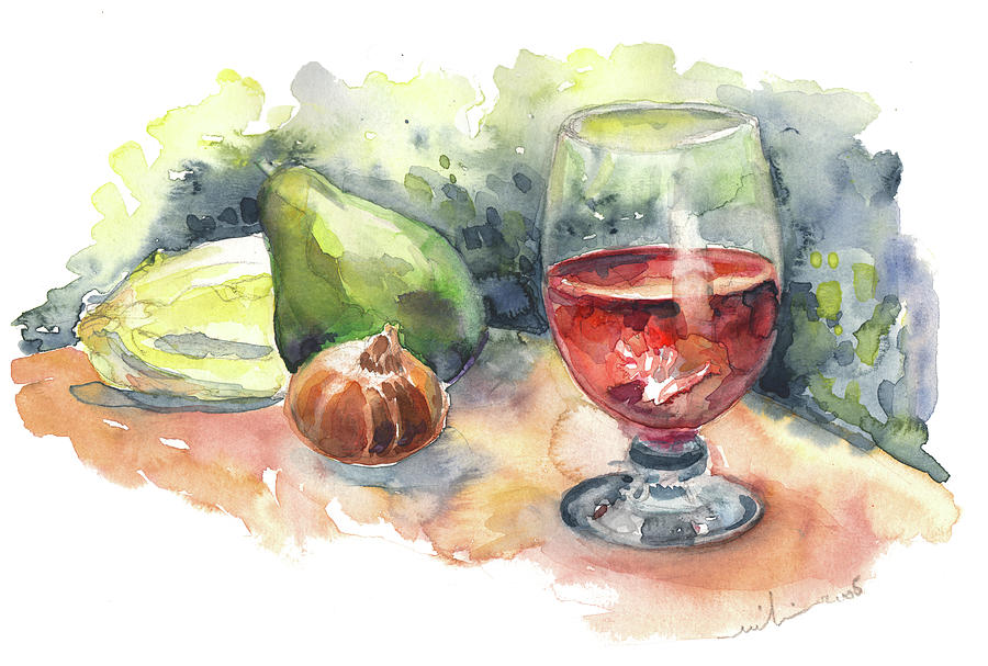 Still Life With Red Wine Glass Painting
