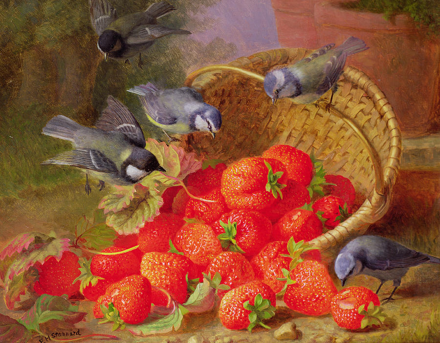 Still Life With Strawberries And Bluetits Painting
