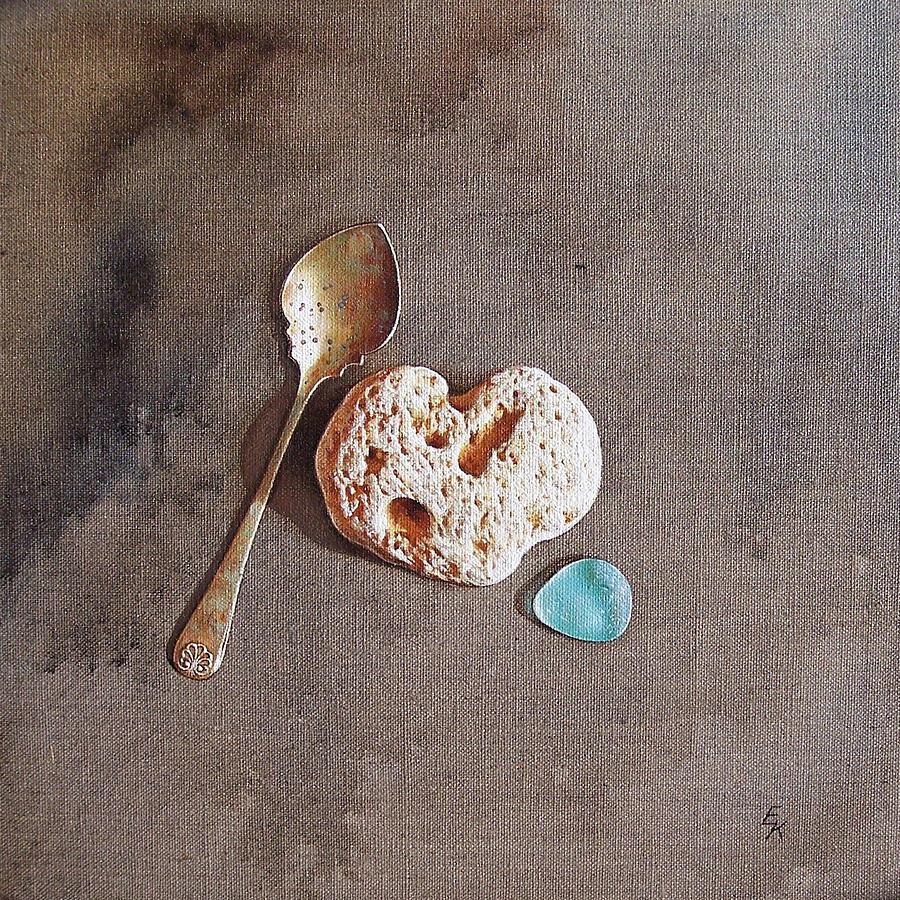 Spoon Painting - Still Life With Teaspoon And Heart Stone by Elena Kolotusha