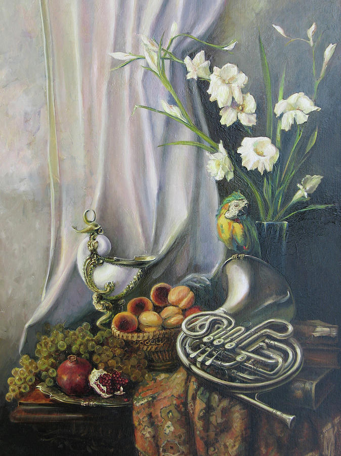 Still-life With The French Horn Painting