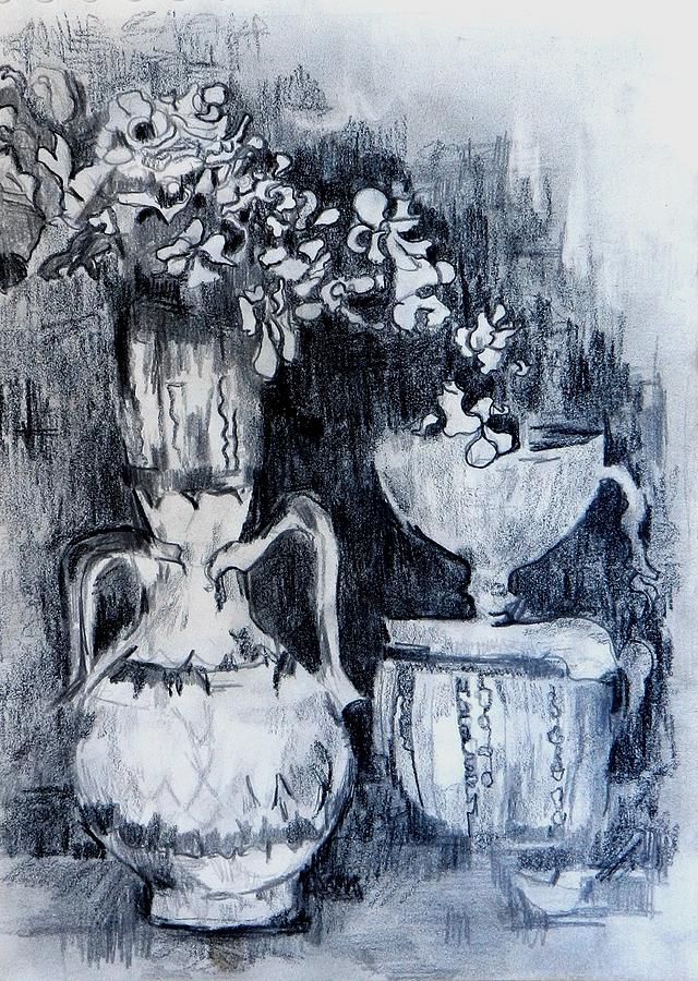 Still Life With Vases Drawing  - Still Life With Vases Fine Art Print