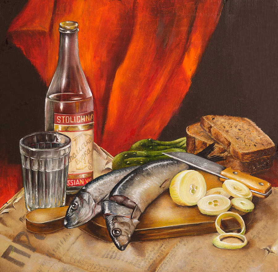 Still Life With Vodka And Herring Painting  - Still Life With Vodka And Herring Fine Art Print