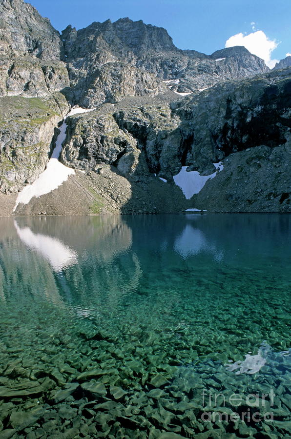 Still Puyvachier Lake Near La Meije Glacier Photograph