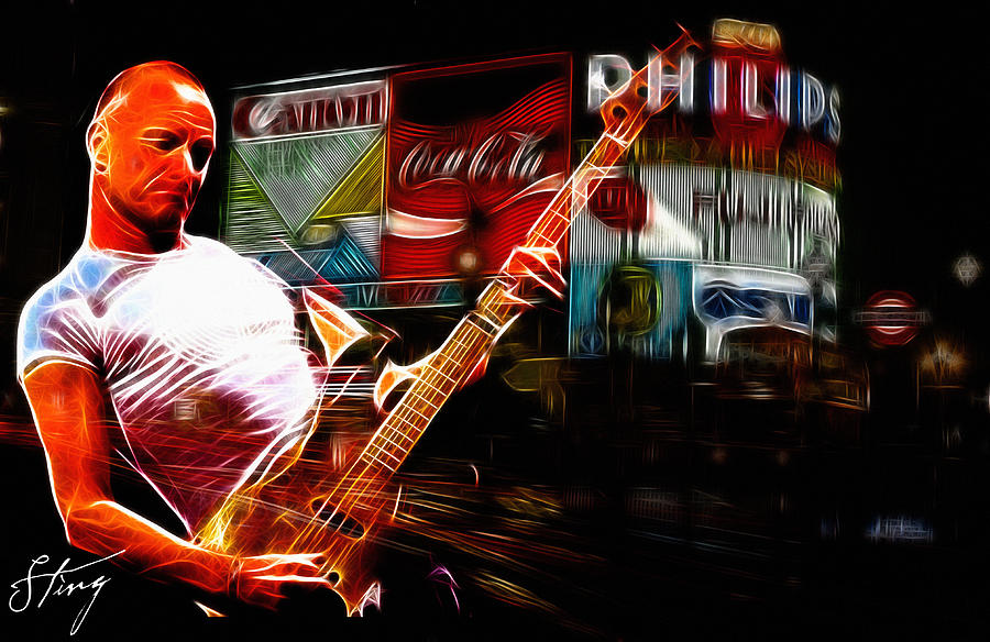 Sting Music Man Male Famous Star Police Gordon Rocks Rock Pop London Piccadilly Circus Neon Light Guitar Hero Playing Rocking Lights Bus Underground City Cityscape  Digital Art - Sting Rocks London by Steve K
