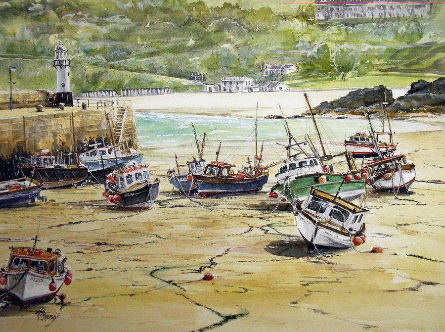 St.ives Harbour Low Tide Cornwall Painting