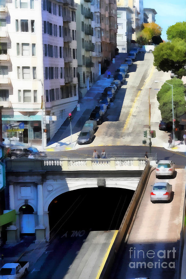 Stockton Street Tunnel In Hilly San Francisco . 7d7499 Photograph