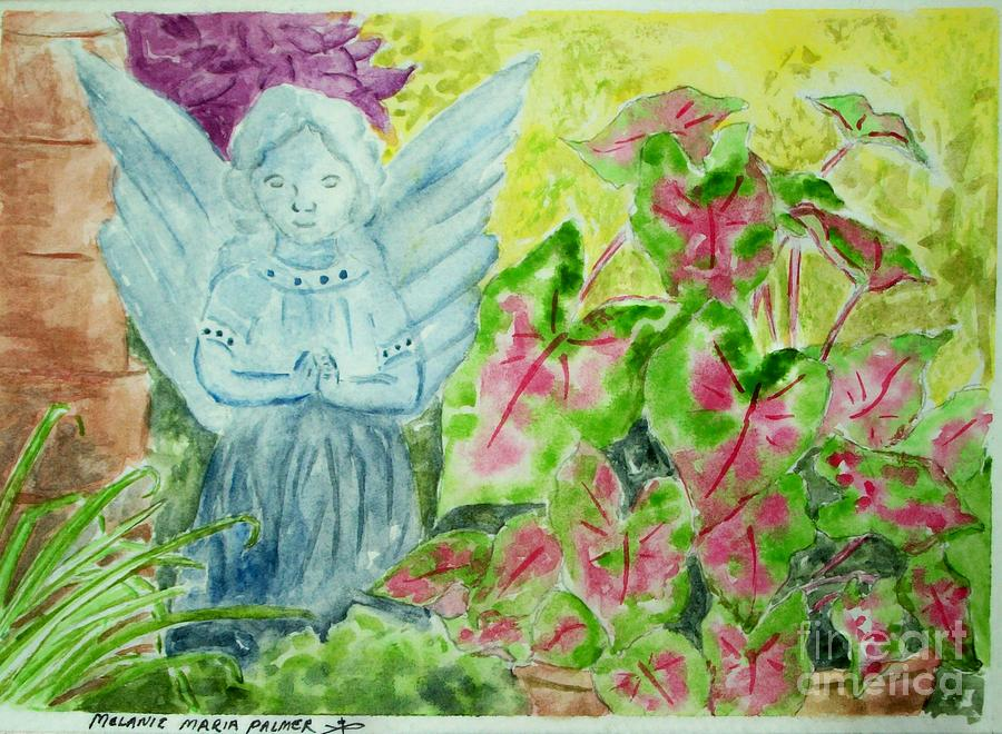Stone Angel And Caladiums Painting
