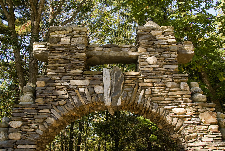 Gillette Castle State Park Photograph - Stone Archway At The Entrance by Todd Gipstein