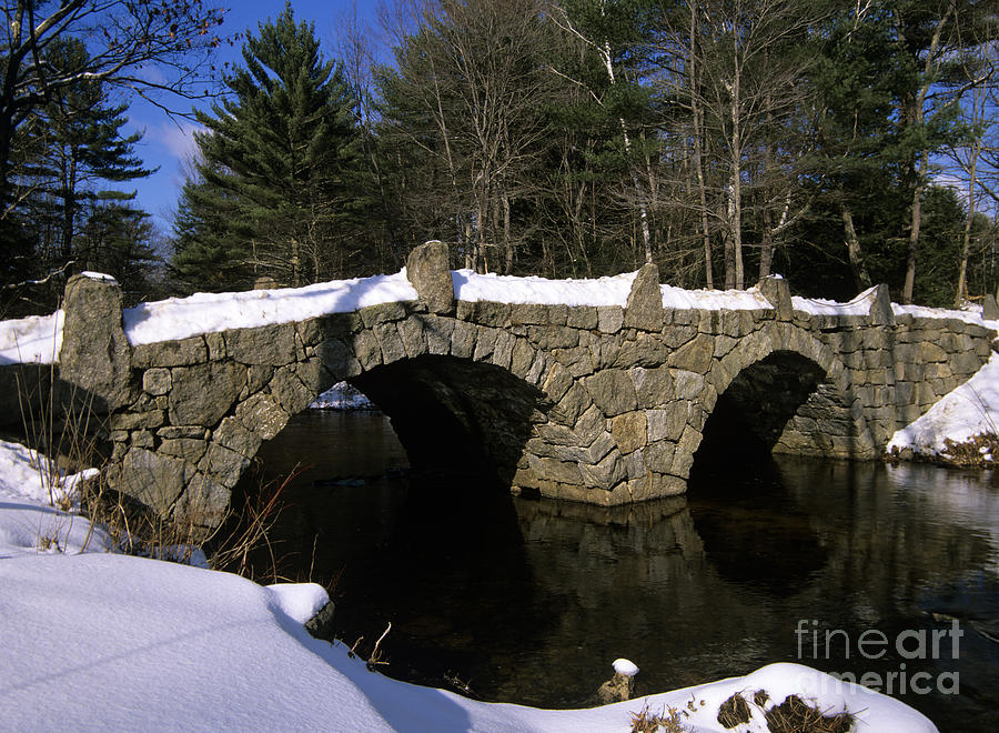 Stone Double Arched Bridge - Hillsborough New Hampshire Usa Photograph  - Stone Double Arched Bridge - Hillsborough New Hampshire Usa Fine Art Print