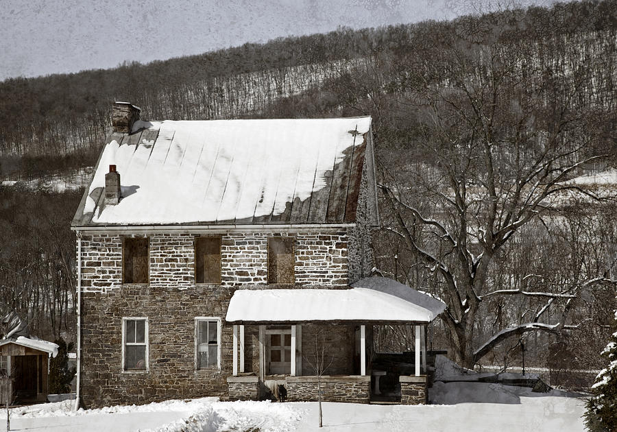 Stone Farmhouse In Snow Photograph