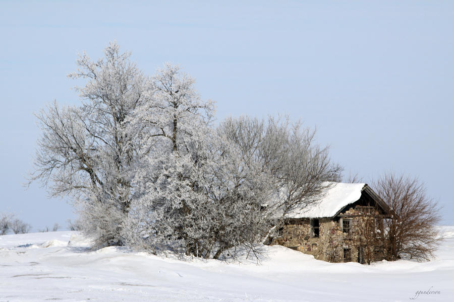 Stone House In Winter Photograph
