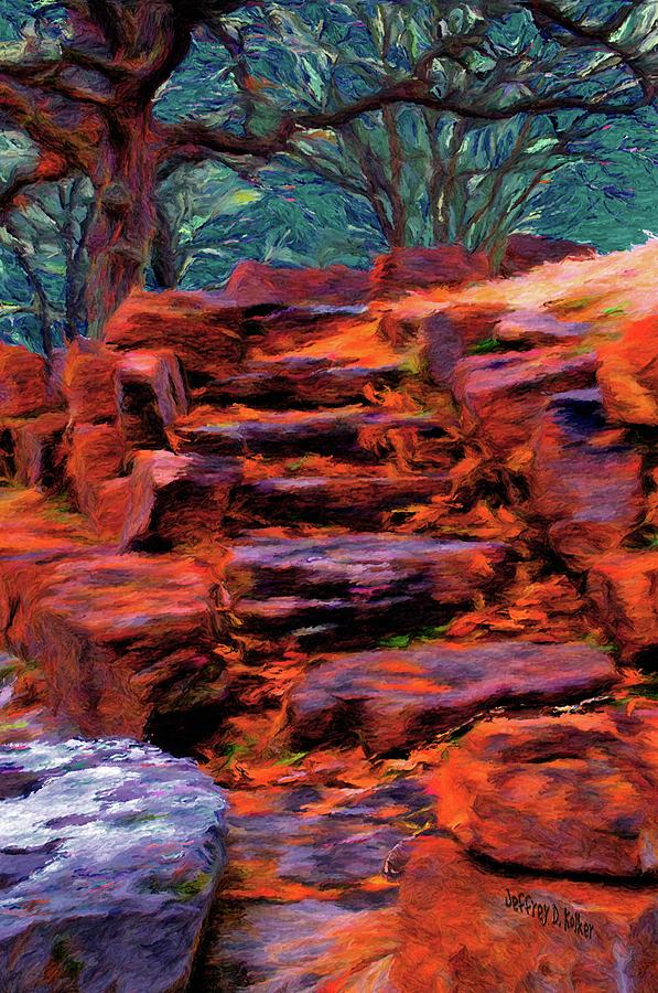Stone Steps In Autumn Painting  - Stone Steps In Autumn Fine Art Print