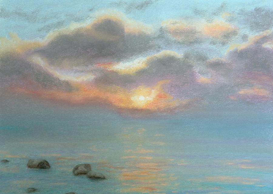 Stone Water Sunrise Painting