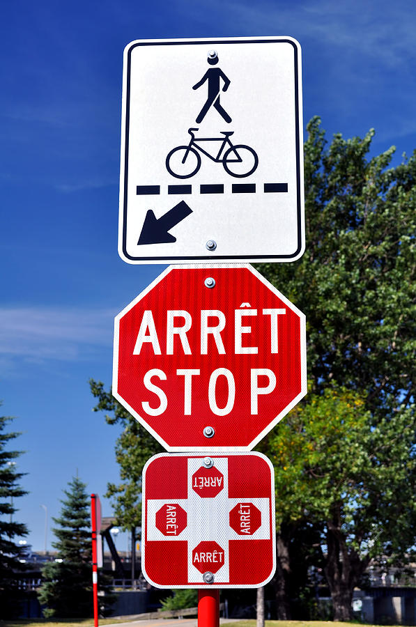 Crossing Photograph - Stop And Crossing Signs. by Fernando Barozza