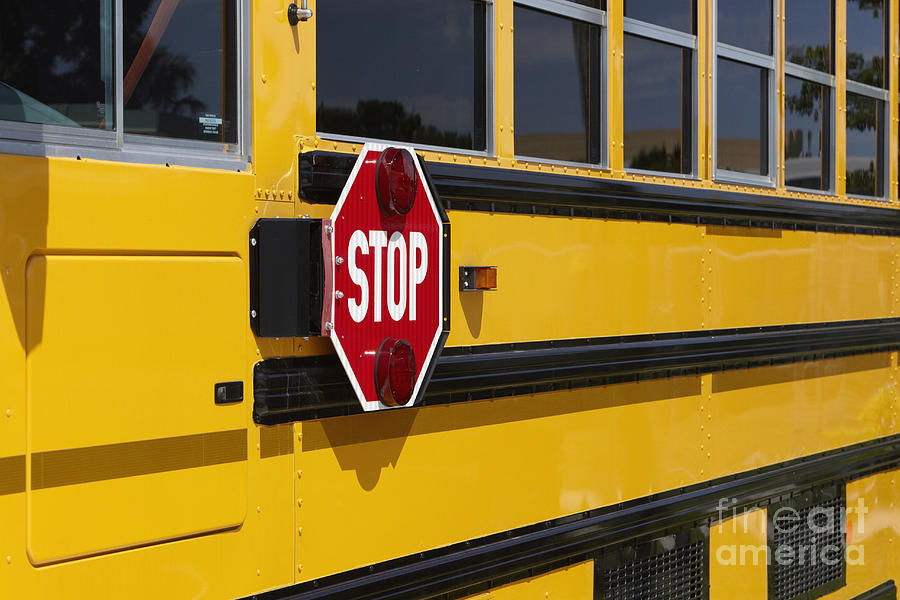 Stop Sign On A School Bus Photograph
