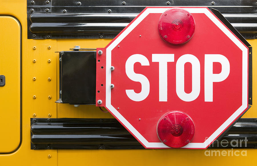 Stop Sign On School Bus Photograph  - Stop Sign On School Bus Fine Art Print