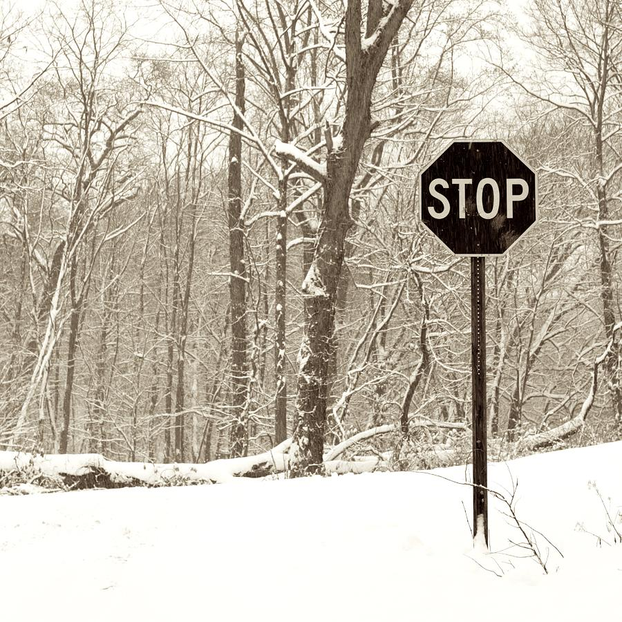 Road Sign Photograph - Stop Snowing by John Stephens