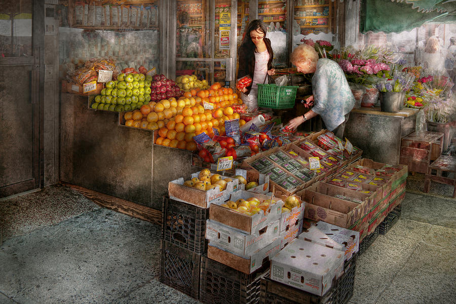 Fruit Photograph - Storefront - Hoboken Nj - Picking Out Fresh Fruit by Mike Savad