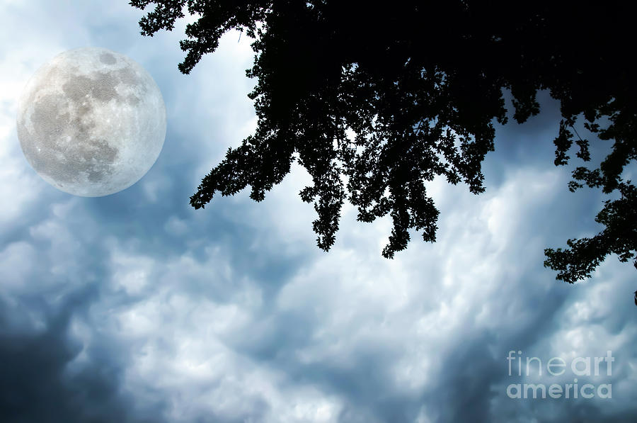 Storm Clouds Over A Super Moon Night Photograph  - Storm Clouds Over A Super Moon Night Fine Art Print