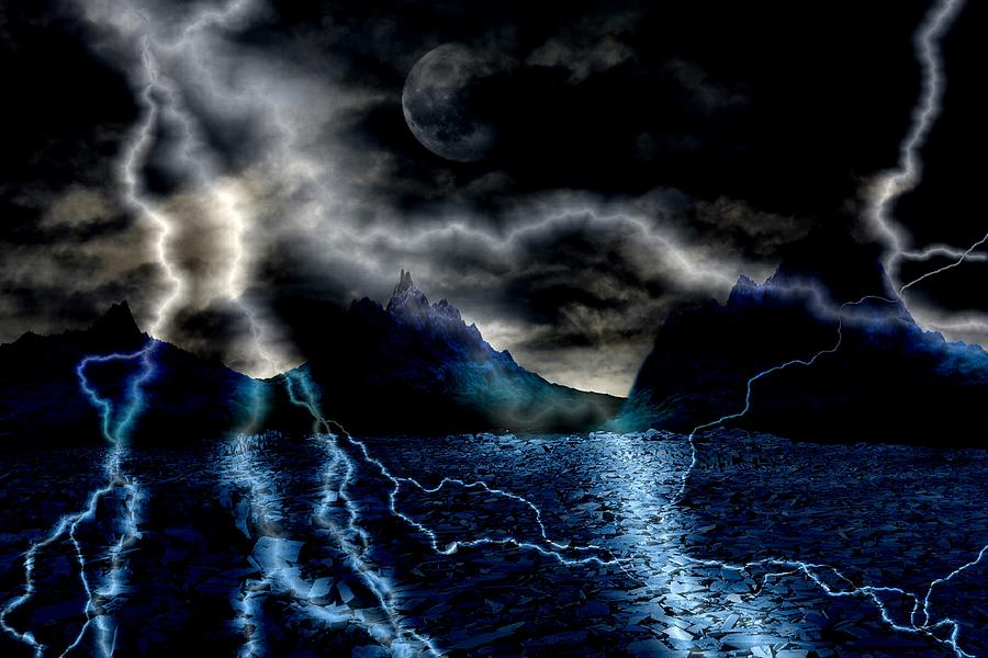Storm In The Blue Mountains Digital Art  - Storm In The Blue Mountains Fine Art Print